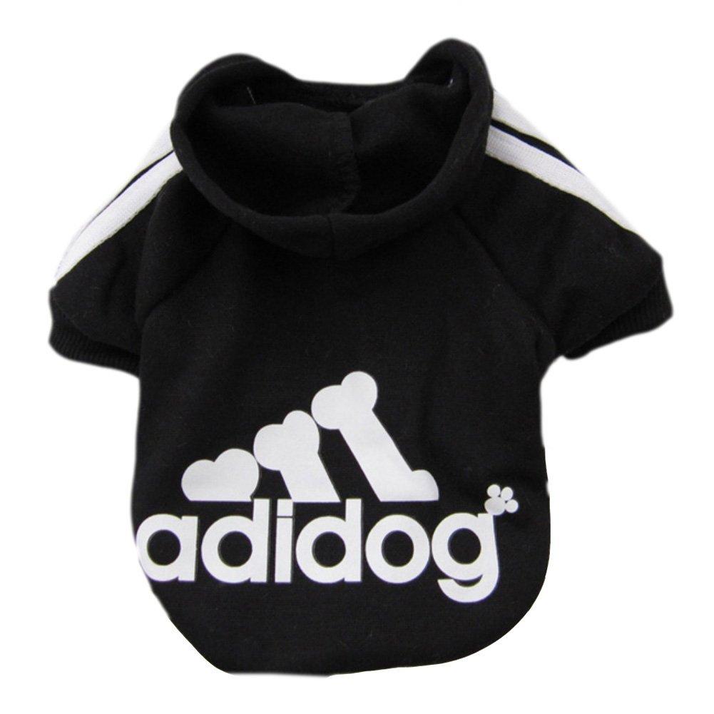 Adidog dog Adidas fleece sweatshirt jacket for dogs black