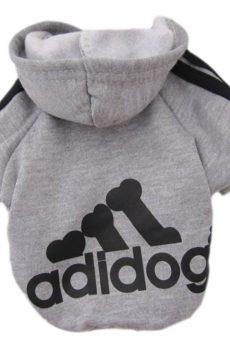 Adidas sweatshirt fleece jacket for dogs or cats gray