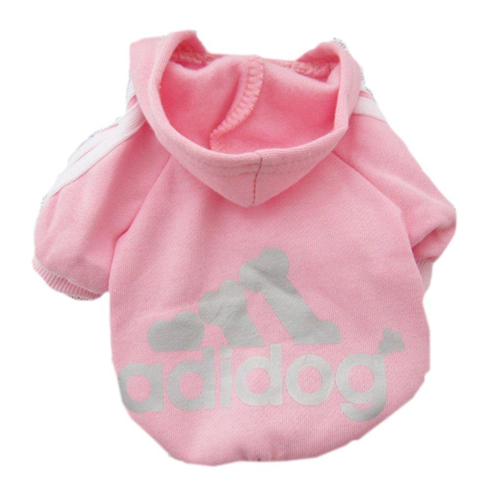 Adidog dog Adidas fleece sweatshirt jacket for dogs pink