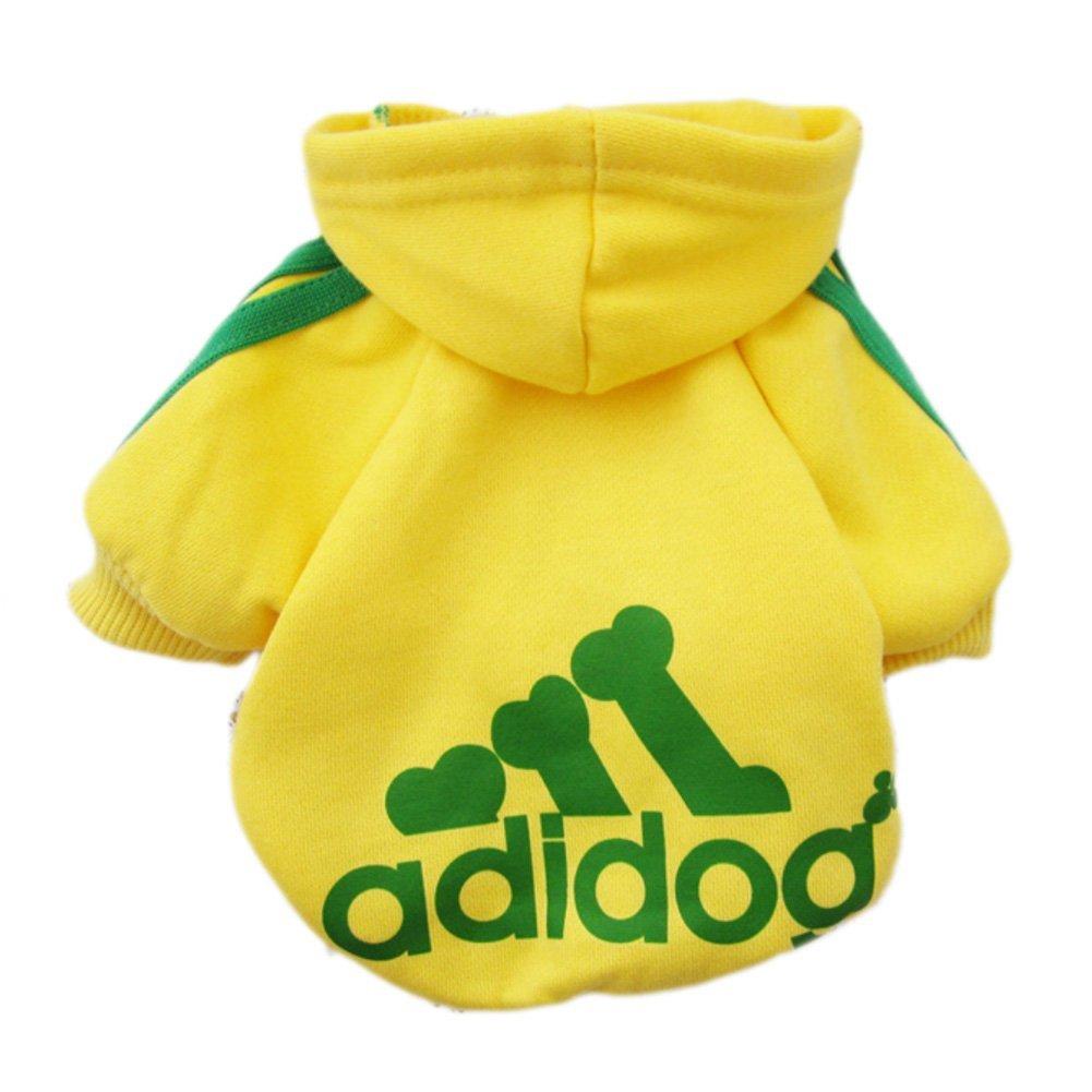 Adidog dog Adidas fleece sweatshirt jacket for dogs yellow