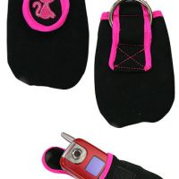 Black and pink soft cell phone or camera case with hot pink stitching and kitty cat embroidered