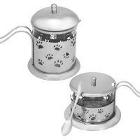 Stainless steel and glass paw print designed cream and sugar bowl set with a little matching spoon