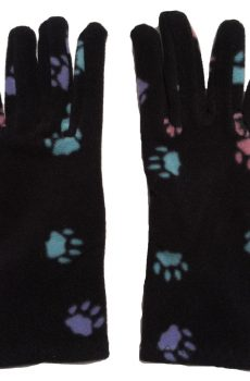 Black fleece gloves with multi colored paw print pattern - one size