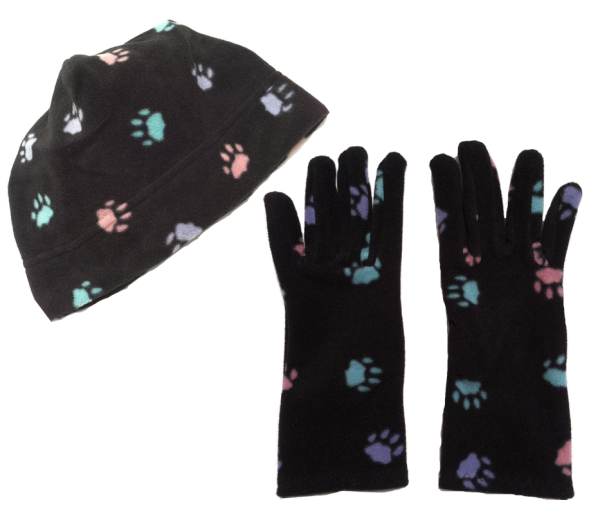 soft black fleece hat and gloves set with multi colored paw print pattern