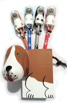 Handcrafted Wooden Dog Pencil Holder