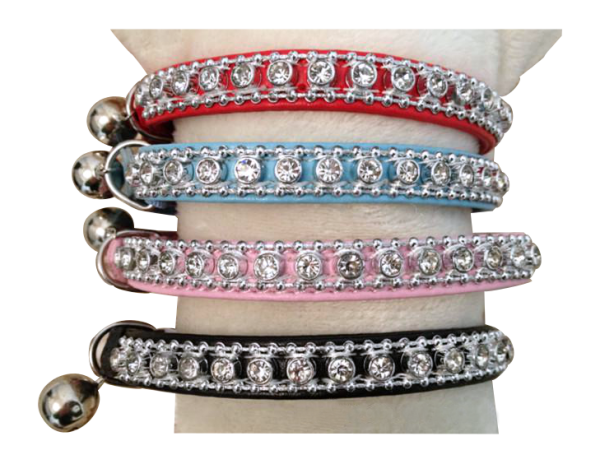 leather cat collar with rhinestones and bell