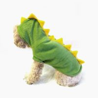 Dinosaur Dog Costume - green with yellow stegosaurus spikes