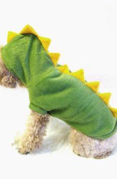 Dinosaur Dog Costume - green with yellow stegosaurus spikes